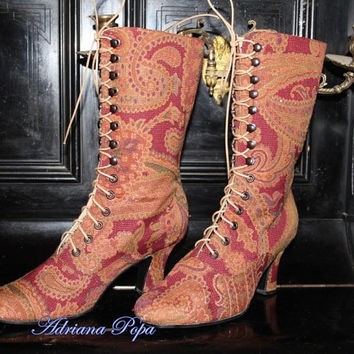 Victorian BootS Ankle boots Lace up with high heels in jacquard paisley fabric tapestry Order your Customized size