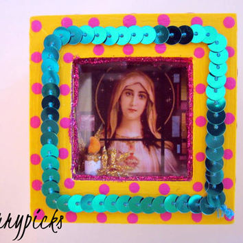 ON SALE - Virgin Mary-Nicho-Retablo-Rosary-Jewelry-Prayer-Trinket Box