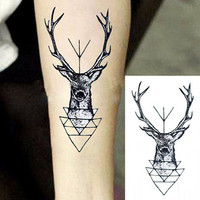 5pcs Waterproof Temporary Tattoo Sticker Elk Deer Head Tattoo Bucks Fake Tattoo