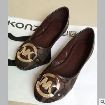 MK Michael Kors Fashion Shoes Print Beige Fashion Women Shoes Comfort flat shoes Coffee