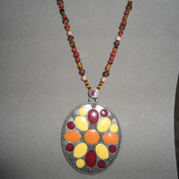 Large Oval Tibetan Silver Pendant Necklace inlaid colors red yellow orange boho hippie rococo egl ooak statement sundance style jewelry