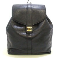 Auth CHANEL Caviar Skin Black Backpack Gold Hardware
