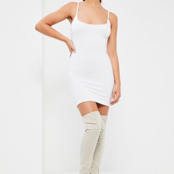 Missguided - White Double Layer Slinky Strappy Cami Dress