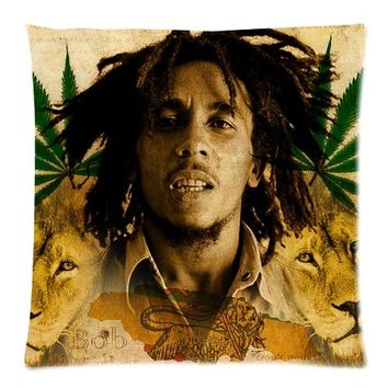 Comfortable Flannel Brand New Custom The Reggae Singer Bob Marley Zippered 18x18 (One Side) Square Cushion Cover P1023