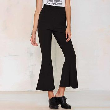 Office lady fashion high waist pants Black flare women Capris leggings