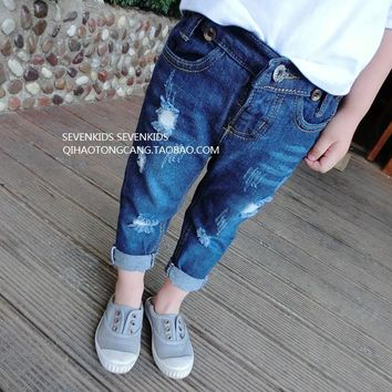 Free shipping!Hot sale baby girls jeans,Fashion,children clothes,hole,Girls trousers,Korean,Jeans pants.kids wear