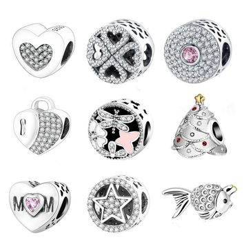 925 Silver Charm Bead Pandora Charms Bracelets With Clear Cubic Zirconia DIY 2016 Winter Style Authentic Berloque