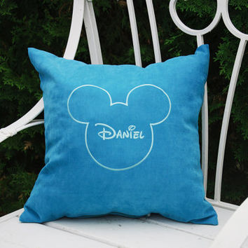 Personalized Pillow Covers Mickey Mouse Head Custom Baby Name Pillowcase Decorative Monogram Pillow Cover Nursery Decor Throw Pillows V11