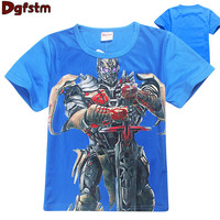 2017 New Robot Tobot T-shirt For Boys Kids Summer Clothes New Cartoon Print Tops Tees Blue T Shirt For Kids Transformer Costumes