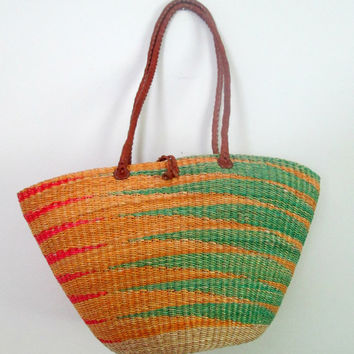 Straw Market Basket Handbag Leather Straps Boho Woven Sisal Ethnic Bag