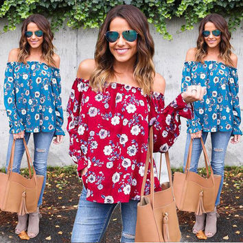 Fashion Women Ladies Clothes Tops Loose Long Sleeve Casual Blouse Slash Neck Shirts Tops New Fashion Blouse