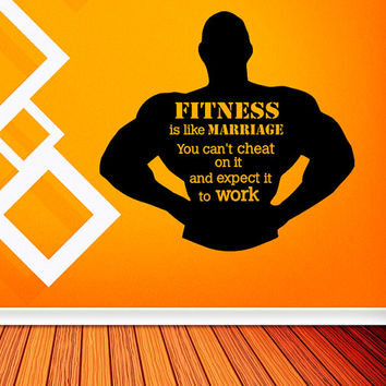 Fitness Is Like Marriage Quote Wall Decal from FabWallDecals on