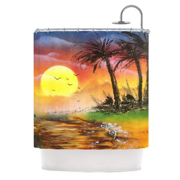 "Infinite Spray Art ""Maui Sunrise"" Beach Shower Curtain"