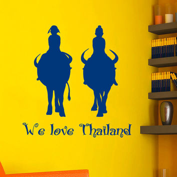 Wall Decals We Love Thailand Quotes People Children Animals Travel Countries Asia Thai Buffalo Any Room Vinyl Decal Sticker Home Decor ML142
