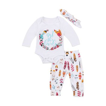3PCS Set Newborn Baby Girl Feather Clothing Long Leeve Romper +Long Pants Hat Outfits Clothes 0-24M