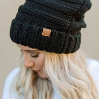 Knitted Fold Over Beanie - Black
