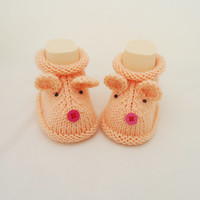 Knitt Baby Booties,Mouse booties, Cute Baby Booties, Grey Booties, Hand Knitt Mouse Booties, Mouse Booties in Peach Pink