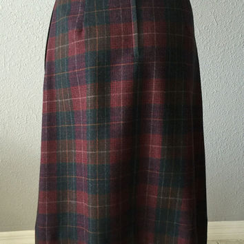 Vintage High Waisted Grunge Plaid Skirt with Pockets