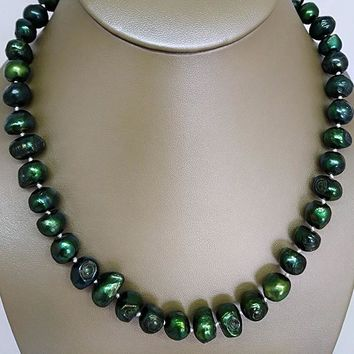 Emerald Green Freshwater Pearl Necklace
