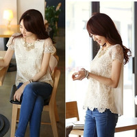 Women's Chiffon Shirt Lace Top Beading Embroidery o-neck T-shirt Tops 20209 = 1745553028
