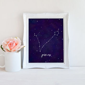 Pisces Zodiac Constellation Horoscope Watercolor Printable Sign, Stars Night Sky, Printable Digital Wall Art Template, Instant Download,8x10