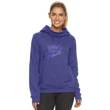 DCCKG2C NIKE Women's Sportswear Funnel Neck Hoodie, Dark Purple Dust