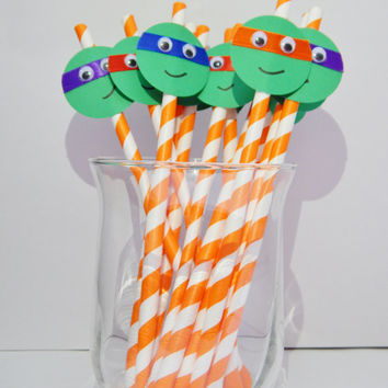 Teenage Mutant Ninja Turtle Party Straws - TMNT Party Decor - Set of 12