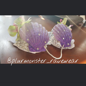 Purple ombre mermaid rave bra- little mermaid inspired seashell bra- purple mermaid seashell bra- ombre mermaid rave bra with pearls