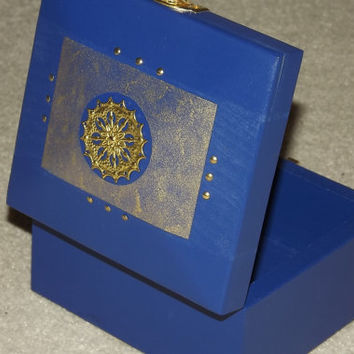 SOLID WOOD Blue & Gold Box. FREE Pendant. Gift Set. Wood box. Can be Personalised. Keepsake. Affirmation Box. Jewellery Box, Trinket box