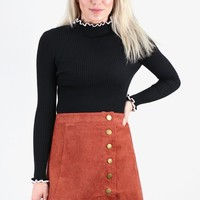 Side Button Down Corduroy Skirt {Marsala}