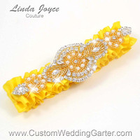Bright Yellow and Gold Vintage Wedding Garter Rhinestone 645 Sunglow Custom Luxury Prom Garter Plus Size & Queen Size Available