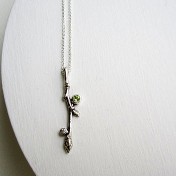White Sapphire and Peridot, Sterling Silver Branch Necklace