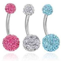 Lot of 3 Pieces 14G Bling Disco Ball Multi Crystal Belly Button Navel Ring Bling Free Retainer:Amazon:Everything Else