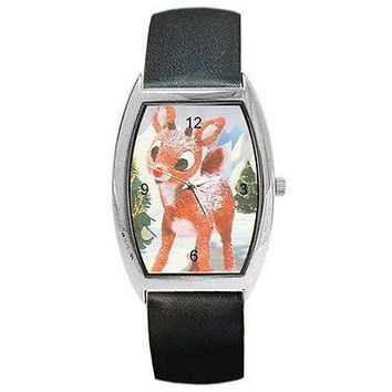 Christmas Rudolph the Red Nosed Reindeer on a Barrel Watch w/ Leather Bands* *