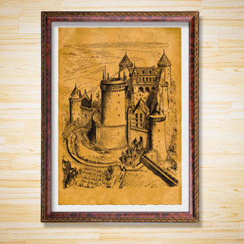 Medieval decor Castle print Stronghold poster