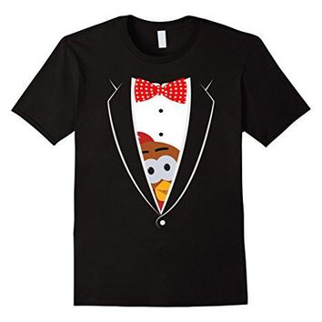 Peeping Turkey Thanksgiving Tuxedo T Shirt Unis