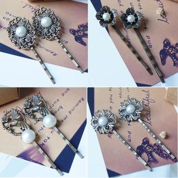 Filigree Flower Hairpins woman lady fashion hair slide Accessories vintage bronze Hair Clips Hair pins Headwear hair jewelry