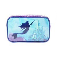 Licensed cool Disney Princess Ariel The Little Mermaid  Makeup Cosmetic Bag Clear Castle NEW