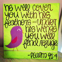 Psalm 91:4 Canvas Painting