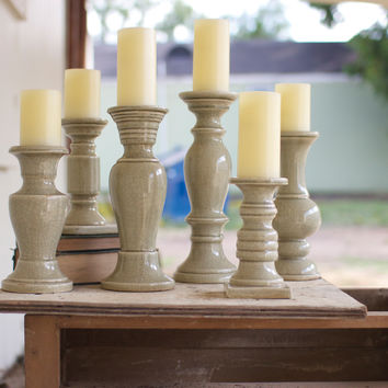 Set of 6 Ceramic Candle Holders- Grey