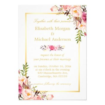 Elegant Floral Chic Gold White Formal Wedding Card