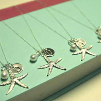 SET of Three Starfish Bridesmaid Necklace in Sterling Silver/Bridesmaid Gift Ideas/Seaside Wedding Ideas