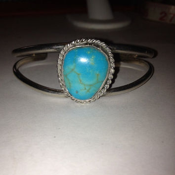 Navajo Turquoise Sterling Cuff Bracelet 925 Silver Blue Vintage Southwestern Jewelry Tribal Anniversary Birthday Valentine's Mother's Gift