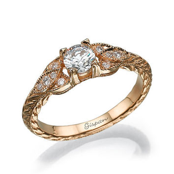 Antique Moissanite Engagement Ring-14K Yellow Gold With Moissanite And Diamonds In Prong Setting,Moissanite Ring , Vintage Ring