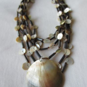 Nautical Clam Shell Abalone Hand Strung Tribal Strands Beaded Necklace