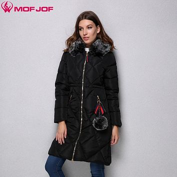 Mofjof winter jacket women Quilted rhombus Hooded Medium Length Female Outerwear Pompon pendants Thinsulate Parka Woman's coat