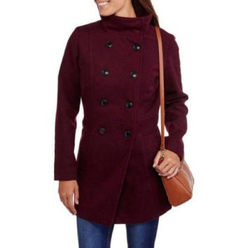 Maxwell Studio Women's Faux Wool Double-Breasted Pea coat, Burgundy, XL