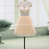 Beading prom dresses ,Short Prom Dresses/short Bridesmaid Dresses/custom color tulle Evening Dresses,Homecoming Dresses//Formal Dresses
