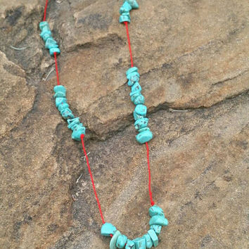 Single Strand Red and Turquoise Semi Beaded Necklace, Magnetic Clasp, Southwest Jewelry, Rustic Beaded Necklace, Handmade Ready to Ship