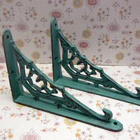 Wall Bracket Cast Iron Shelf Ornate Brace Shabby Style Chic Turqouise Aqua Decorative Brackets Small Petite 1 Pair (2 individual brackets)